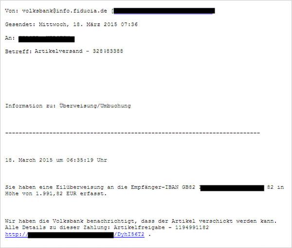 Phishing-Warnung Artikelversand
